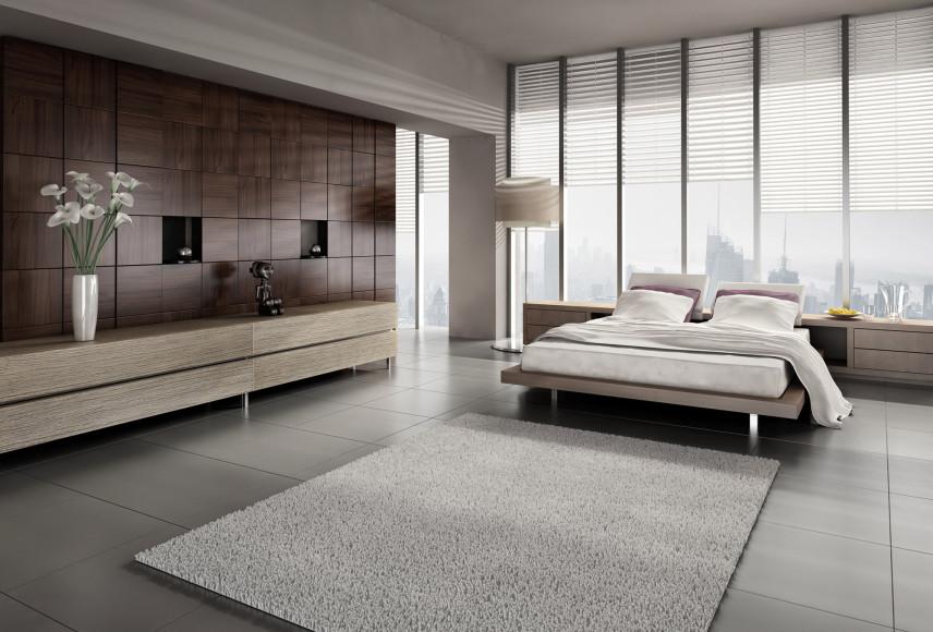 Duża minimalistyczna sypialnia