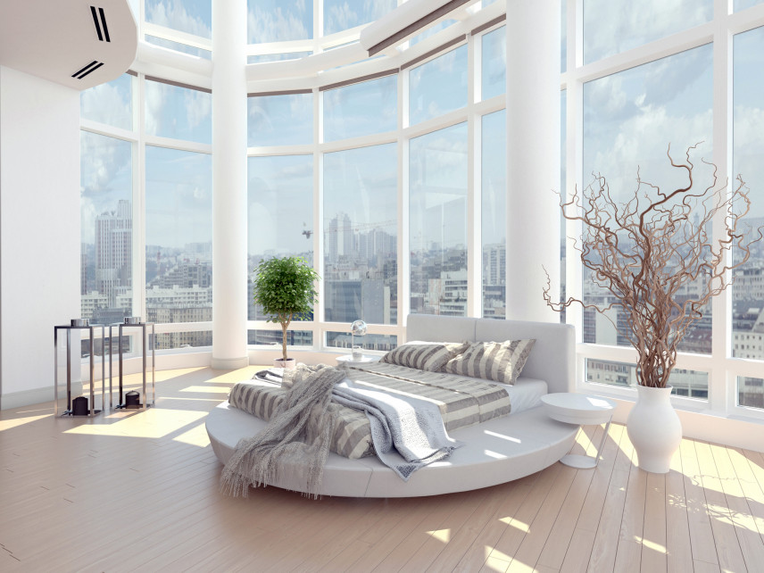 Sypialnia z okrągłym łóżkiem