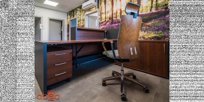 Aranżacja biura z tapetą 3d