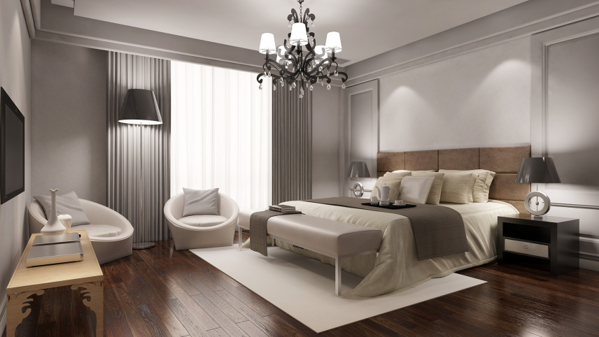 Nowoczesna sypialnia w brązach i szarości