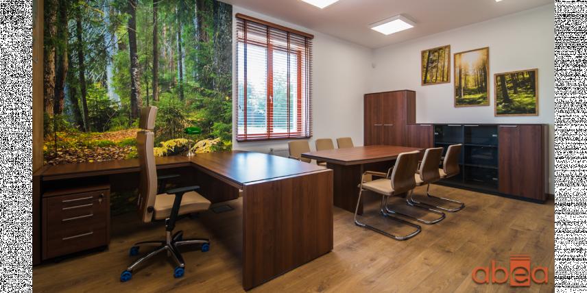 Aranżacja biura z motywem zieleni