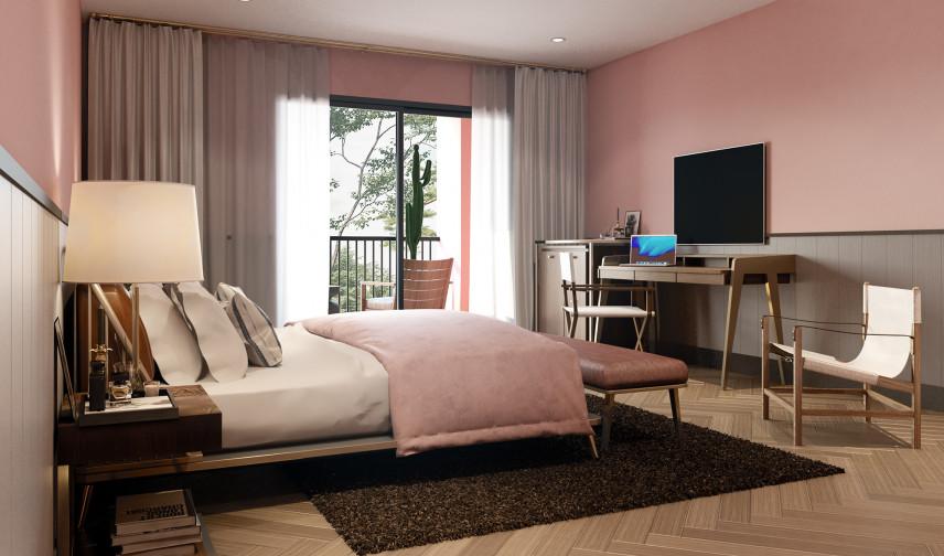 Sypialnia koloru różówego