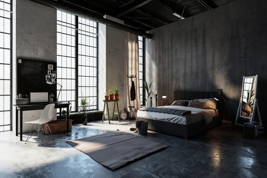 Loftowa sypialnia w stylu industrialnym