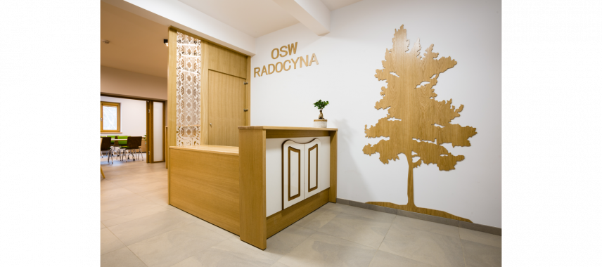 Projekt drewnianej recepcji