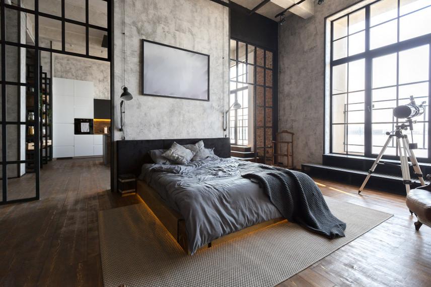 Sypialnia w stylu loftowym na poddaszu