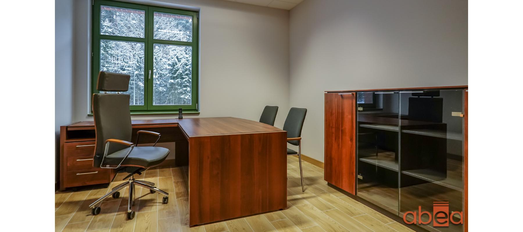 Aranżacja biura z białymi ścianami