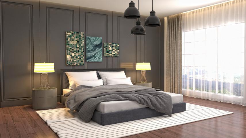 Klasyczna sypialnia z ciemna ścianą