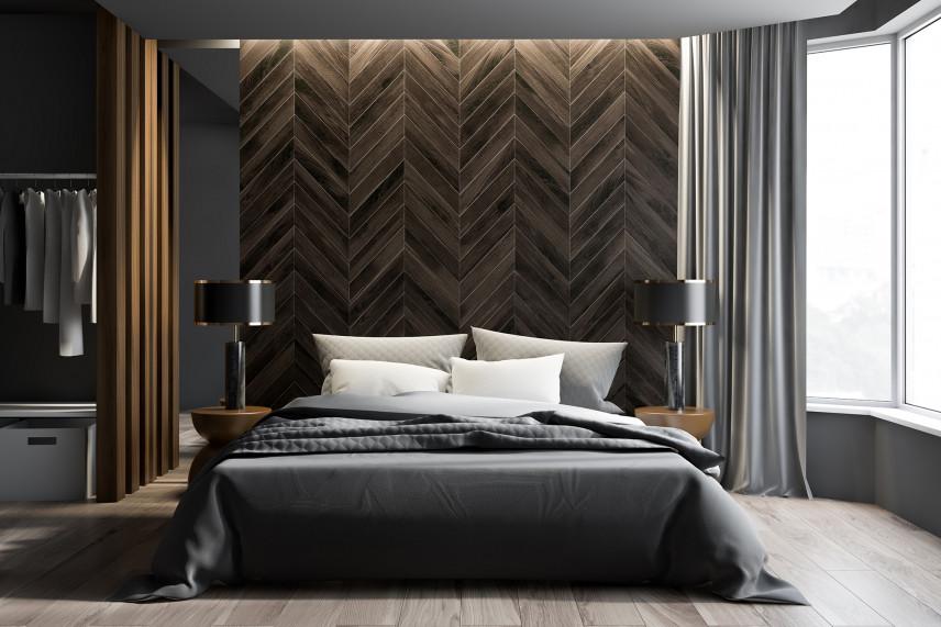 Designerska sypialnia z drewnianą ścianą