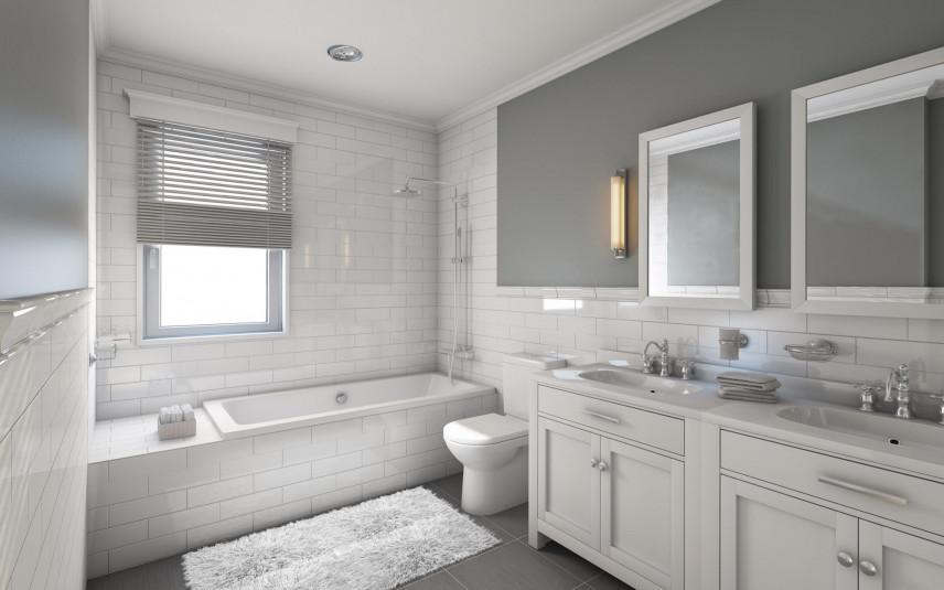 Projekt łazienki z szarymi ścianami