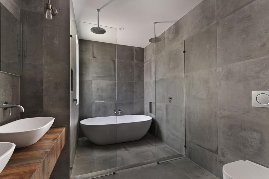 Projekt łazienki z z modnymi płytkami