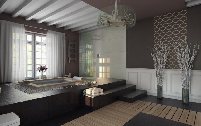 Aranżacja łazienki z szaro-białymi ścianami ze sztukaterią