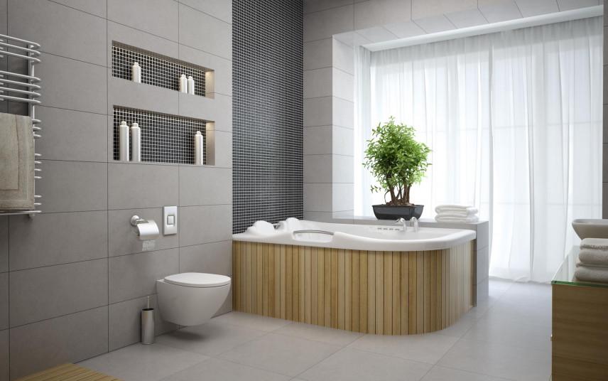 Aranżacja łazienki z zabudowaną wanną narożną