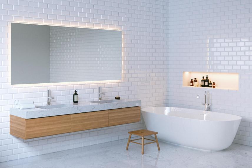 Aranżacja łazienki z biała cegła na ścianie