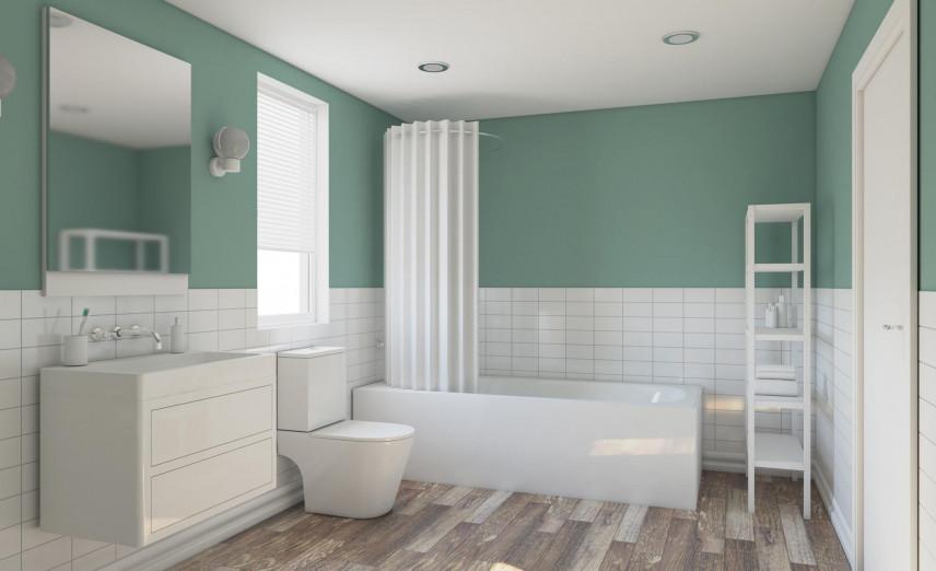 Aranżacja łazienki z zielonymi ścianami