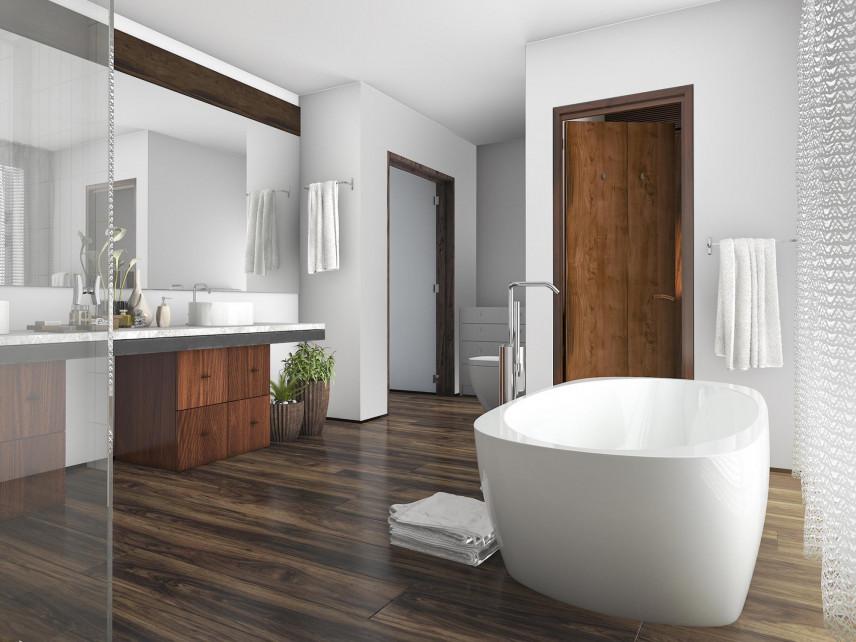 Ekskluzywna łazienka z białymi ścianami