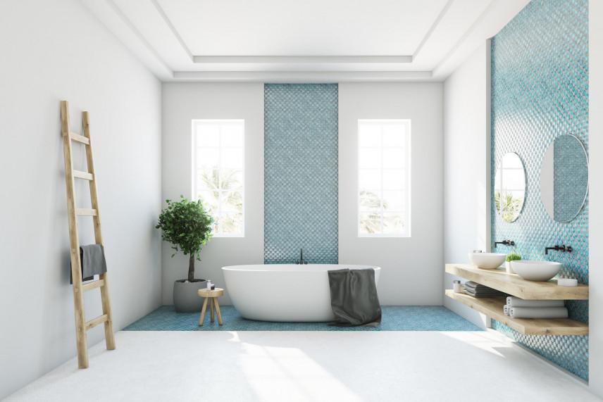 Aranżacja łazienki z turkusową płytką na ścianie