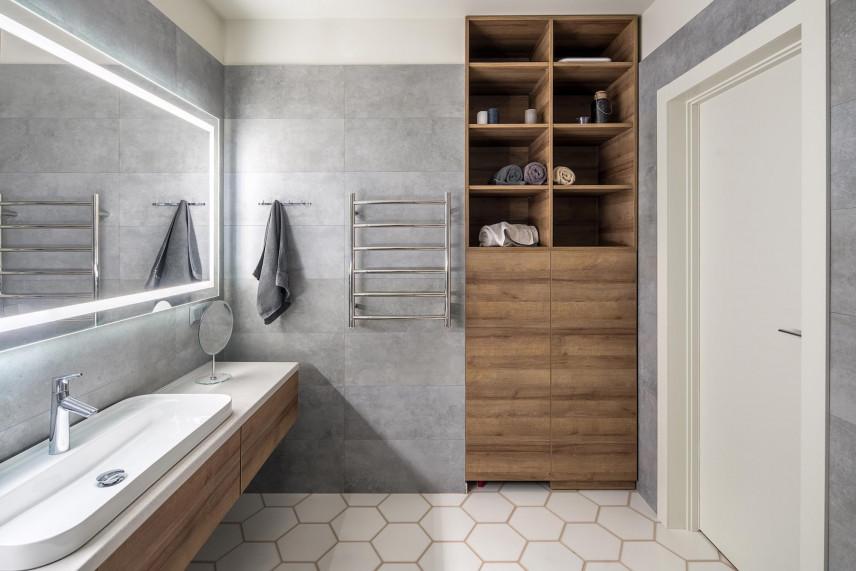 Aranżacja łazienki z wzorem heksagonalnym na podłodze