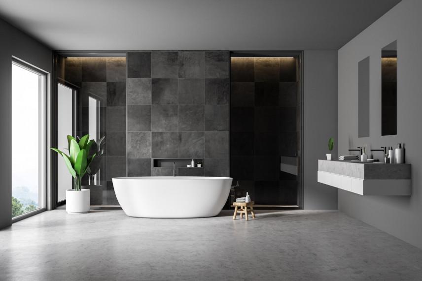 Aranżacja łazienki z betonową podłogą