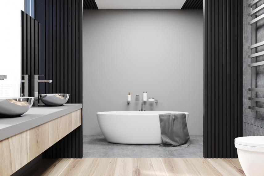 Aranżacja łazienki z przesuwaną czarną ścianą