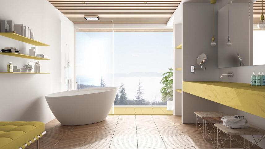 Stylowa łazienka z drewnianymi elementami