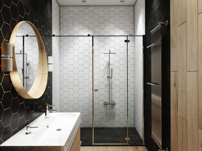 Łazienka glamour z wzorem na ścianie