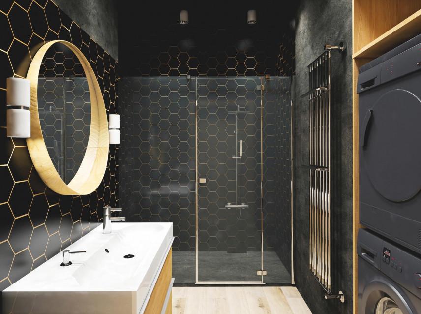 Projekt łazienki glamour z czarnymi wzorzystymi płytkami