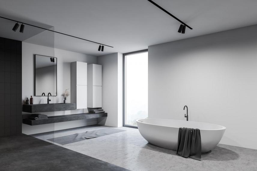 Projekt łazienki z betonową podłogą