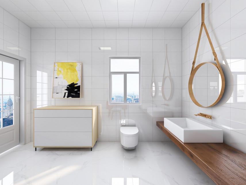 Łazienka z długim, brązowym blatem