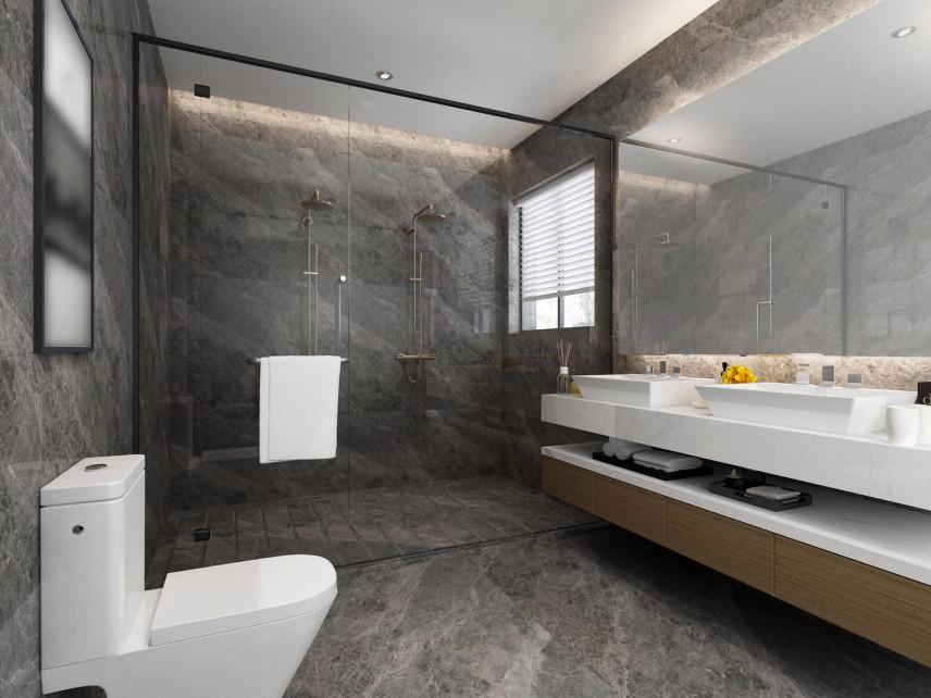 Mała łazienka z szarymi panelami winylowymi