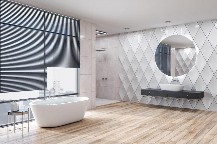 Białe płytki 3d w dużej łazience