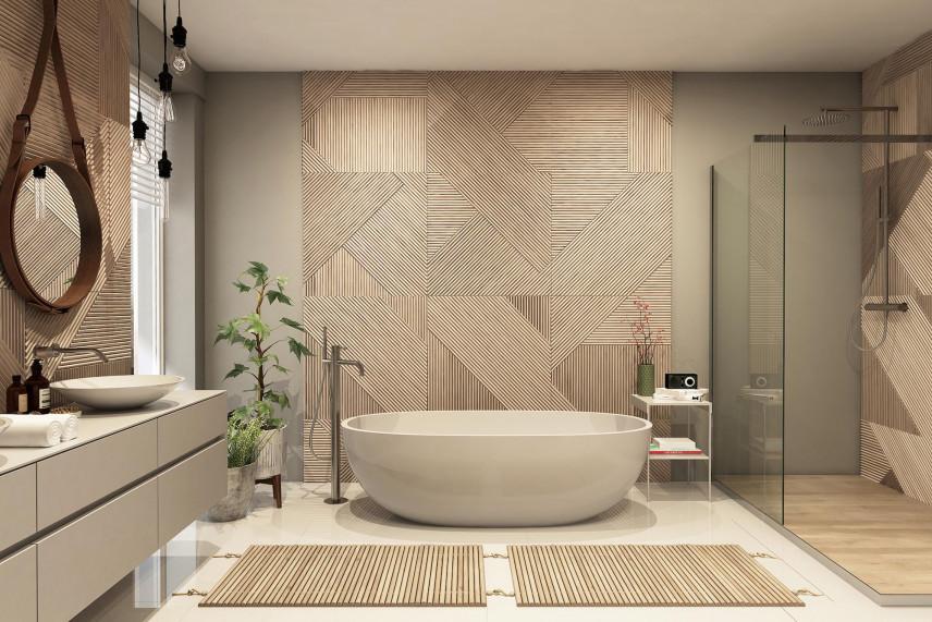 Modna łazienka z beżowym wzorem na jednej ścianie