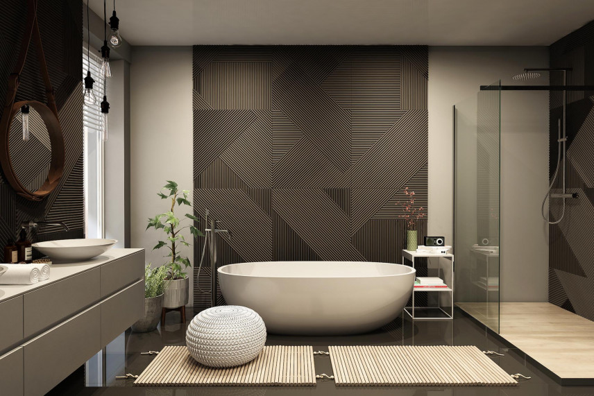 Modna łazienka z czarno-szarym wzorem na jednej ścianie