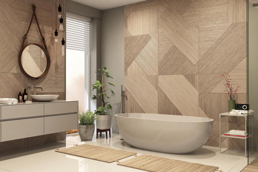 Beżowy modny wzór na płytkach ściennych w łazience