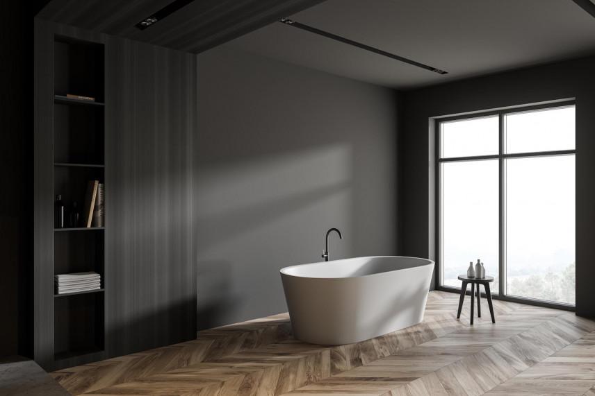 Łazienka z czarnymi ścianami