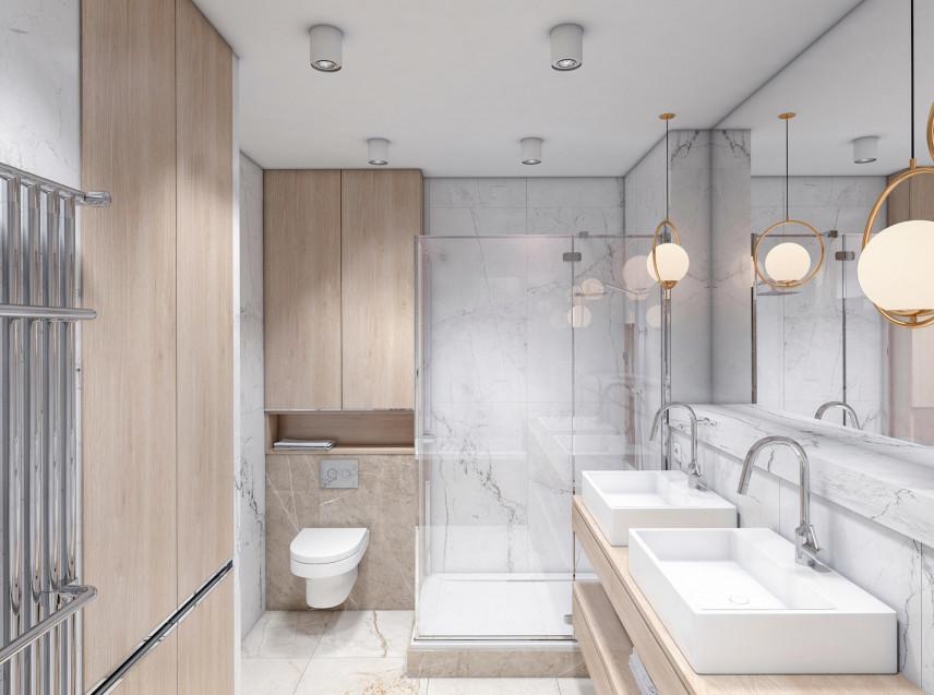Biało-brązowa łazienka