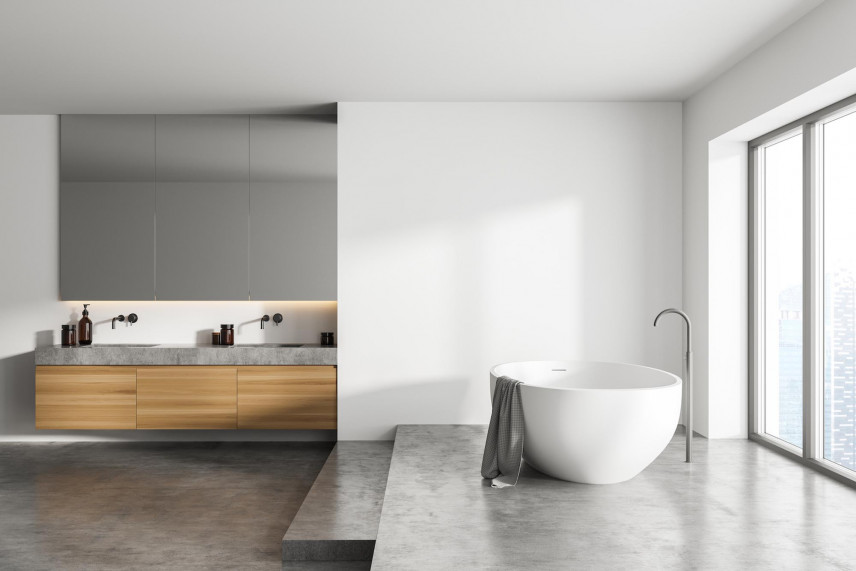 Duża łazienka w stylu skandynawskim