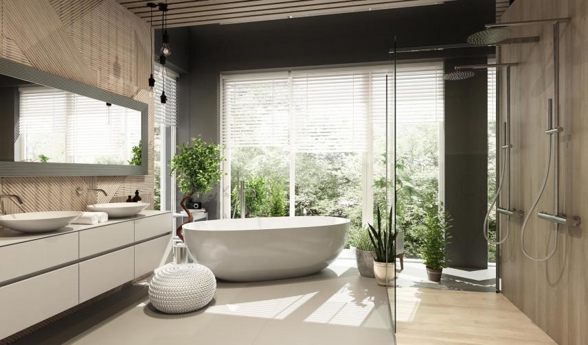 Łazienka z pięknym widokiem za oknem