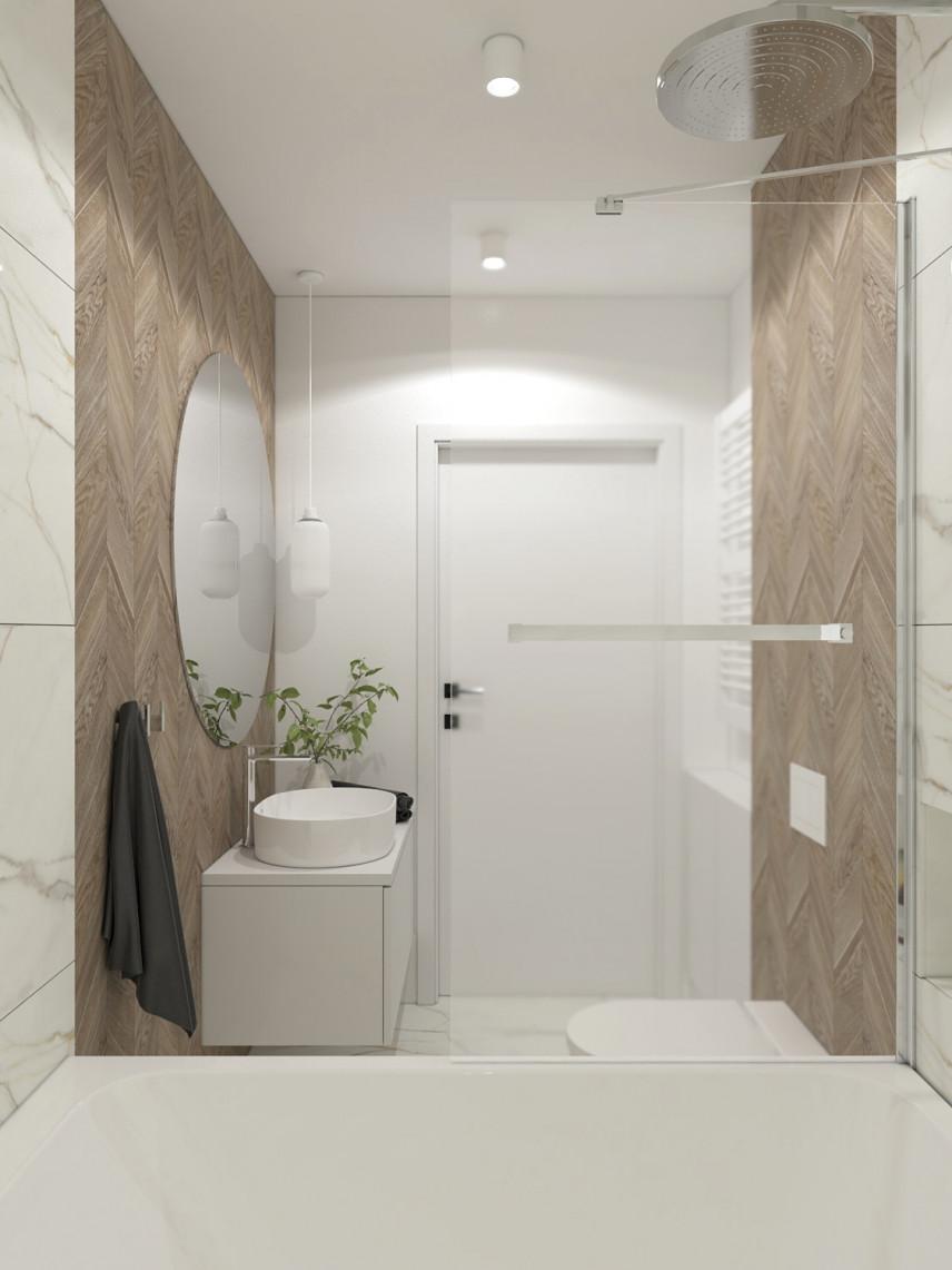 Elegancka łazienka z kaflami imitującymi drewno na ścianie