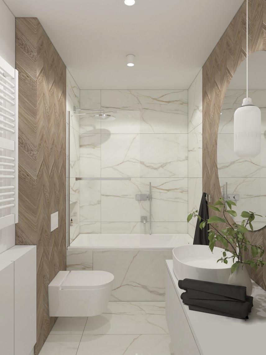 Łazienka z marmurową ścianą
