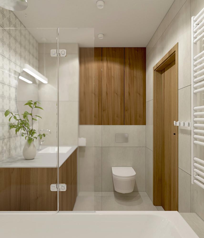 Łazienka z jasnymi płytkami