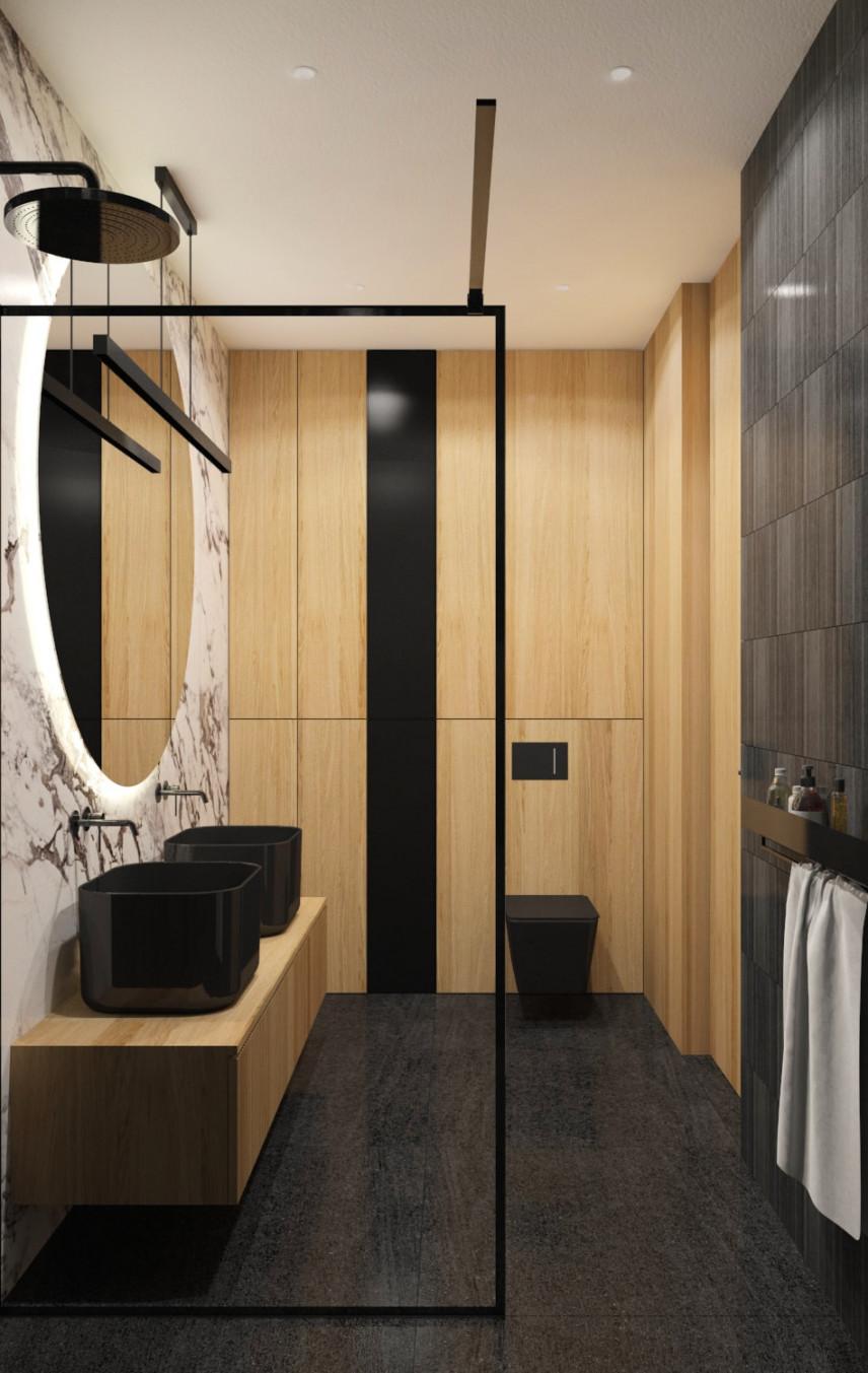 Łazienka z czarnymi płytkami