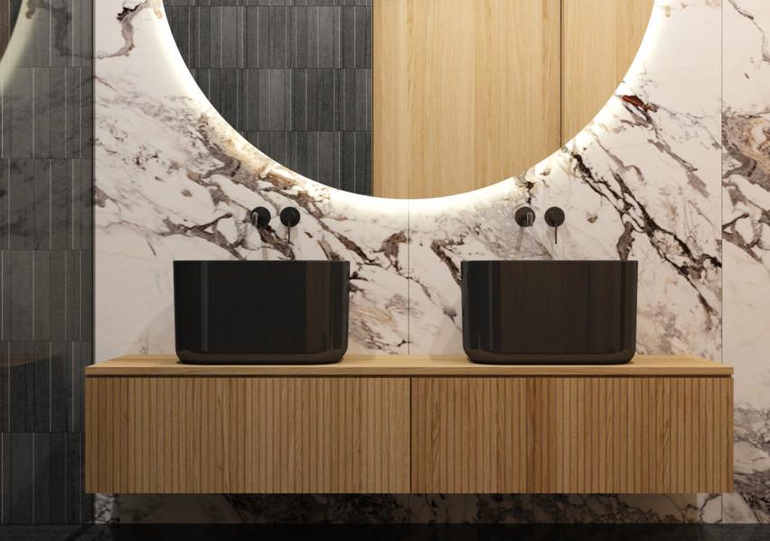 Aranżacja łazienki z marmurowymi płytkami