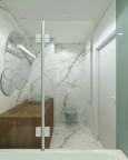 Mała łazienka z marmurowymi kaflami