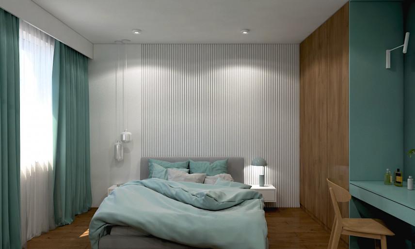 Aranżacja sypialni singielki z łóżkiem kontynentalnym