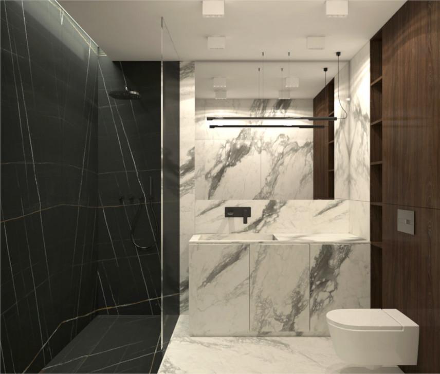 Projekt łazienki z marmurowymi kaflami