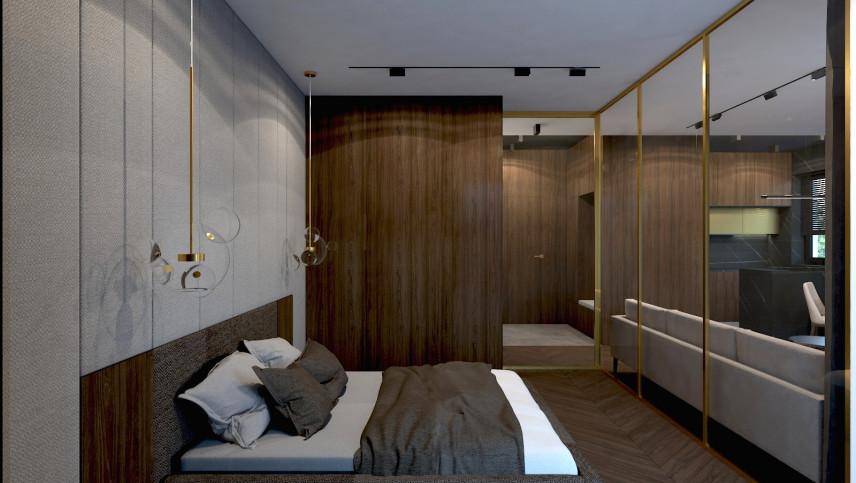 Projekt sypialni ze szklaną ścianą