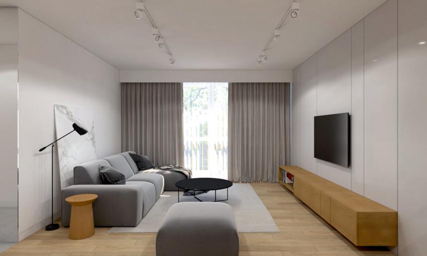 Projekt salonu z betonem dekoracyjnym