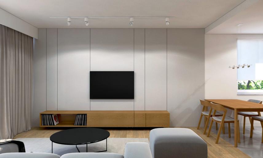 Projekt salonu z telewizorem na ścianie