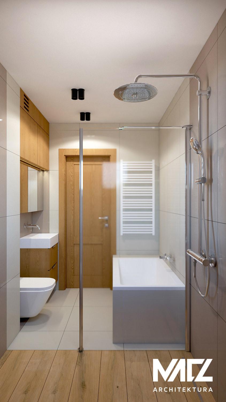 Projekt łazienki z meblami w zabudowie
