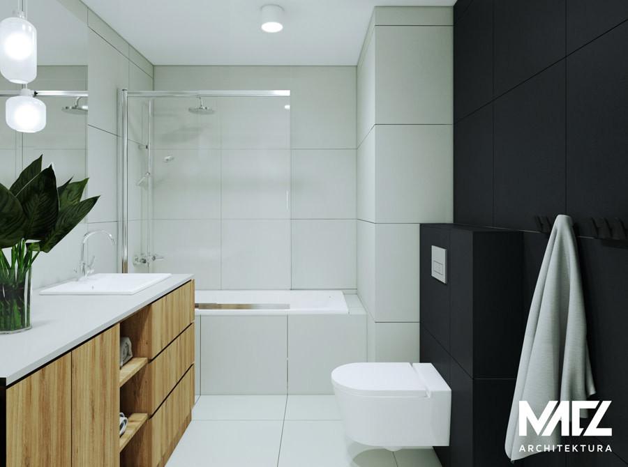 Projekt łazienki z wanną i prysznicem